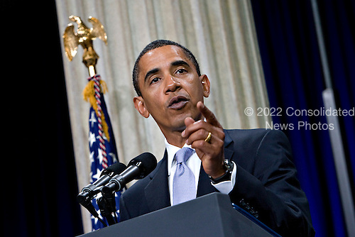 New York, NY - September 14, 2009 -- United States President Barack Obama speaks at Federal Hall National Memorial in New York, U.S., on Monday, September 14, 2009. Obama, speaking a year after Lehman Brothers Inc. collapse, outlined his plan for unwinding government involvement in the financial sector. .Credit: Daniel Acker / Pool via CNP