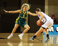 Opals guard Jessica Bibby marks Kate McMeeken-Ruscoe during the International women's basketball match between NZ Tall Ferns and Australian Opals at Te Rauparaha Stadium, Porirua, Wellington, New Zealand on Monday 31 August 2009. Photo: Dave Lintott / lintottphoto.co.nz