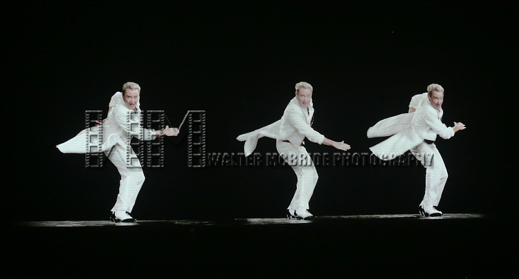 Michael Flatley on screen during the curtain call for the Broadway Opening and dedut of 'Lord of the Dance: Dangerous Games' at The Lyric Theatre on November 10, 2015 in New York City.