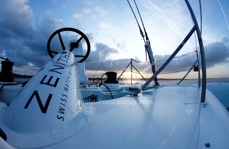 Delivery onboard the Hydroptere between Lorient to Brest, Brittany, France..Now the fastest sailing boat in the world with an average speed of 51.36 knots over 500 meters and 50.17 knots over one nautical mile, the flying trimaran is currently heading to the open sea.