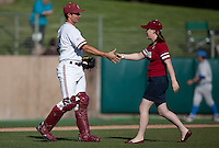 STANFORD, CA - April 21, 2011: Trevor Penny of Stanford baseball during the ceremonial first pitch before Stanford's game against UCLA at Sunken Diamond. Stanford won 7-4.