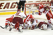 Charlie Coyle (BU - 3), Barry Almeida (BC - 9), Patch Alber (BC - 27), Sahir Gill (BU - 28), John Muse (BC - 1), Joe Pereira (BU - 6), Chris Kreider (BC - 19) - The Boston College Eagles defeated the visiting Boston University Terriers 5-2 on Saturday, December 4, 2010, at Conte Forum in Chestnut Hill, Massachusetts.