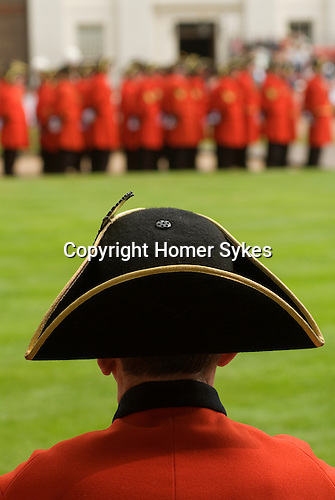 Chelsea pensioner wearing traditional Tricorne hat. Founders Day May 29th, annual inspection.