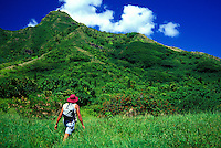 Hiker on windward side of Oahu