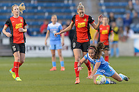 Bridgeview, IL, USA - Saturday, April 23, 2016: Chicago Red Stars midfielder Danielle Colaprico (24) and Western New York Flash defender Alanna Kennedy (8) during a regular season National Women's Soccer League match between the Chicago Red Stars and the Western New York Flash at Toyota Park. Chicago won 1-0.