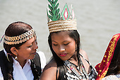 Two indigenous contestants from Latin America share a quiet moment during the International Indigenous Games, in the city of Palmas, Tocantins State, Brazil. Photo © Sue Cunningham, pictures@scphotographic.com 29th October 2015