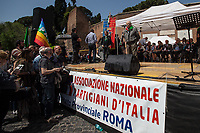 Modesto Di Veglia (Antifascist Partizan. Member of the Partigiani: the Italian Resistance during WWII).<br /> <br /> Rome, 25/04/2018. Today, to mark the 73rd Anniversary of the Italian Liberation from nazi-fascism ('Liberazione'), ANED Roma & ANPI Roma (National Association of Italian Partizans) held a march ('Corteo') from Garbatella to Piazzale Ostiense where a rally took place attended by Partizans, Veterans and politicians – including the Mayor of Rome and the President of Lazio's Region. From the organisers Facebook page:<<For the 25th of April, the 73rd Anniversary of the Liberation of Italy from nazi-fascism, while facing new threats to the world peace, it is necessary to remember that the Fight for Liberation triggered the greatest, positive, 'break' of the whole modern age of the Italian history. The Fight for the Liberation was supported by a great solidarity of the people. The memory of those who in the partizan struggle, in the camps of imprisonment, internment or extermination, opposed - even until the sacrifice of life - the dictatorship, the greed of territorial conquests, crazy ideologies of race supremacy, constitutes concrete warning against any attempt to undermine the foundations of the free institutions born of the Resistance. Memory is not an instrument of hatred or revenge, but of unity in a spirit of harmony without discriminations...<br /> (For the full caption please read the PDF attached at the the beginning of this story).<br /> <br /> For more info please click here: https://bit.ly/2vOIfNf & https://bit.ly/2r4iJy3 & http://www.anpi.it<br /> <br /> For the Wikipedia's page of the 'Liberazione' please click here: https://en.wikipedia.org/wiki/Liberation_Day_(Italy)<br /> <br /> For a Video of the event by Radio Radicale please click here: https://www.radioradicale.it/scheda/539534/manifestazione-promossa-dallanpi-in-occasione-della-73a-festa-della-liberazione