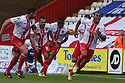 Darius Charles of Stevenage scores their first goal and celebrates<br />  Stevenage v Oldham Athletic - Sky Bet League 1 - Lamex Stadium, Stevenage - 3rd August, 2013<br />  © Kevin Coleman 2013