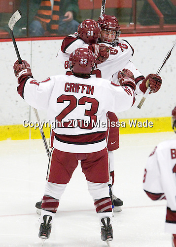 Liza Ryabkina (Harvard - 3), Kate Buesser (Harvard - 20), Randi Griffin (Harvard - 23) - The Harvard University Crimson defeated the Northeastern University Huskies 1-0 to win the 2010 Beanpot on Tuesday, February 9, 2010, at the Bright Hockey Center in Cambridge, Massachusetts.