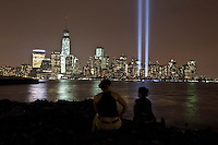 New York City and the 'Tribute In Light' marking the twelfth anniversary of the terrorist attacks at the World Trade Center in New York September 11, 2013 by Kena Betancur / VIEWpress