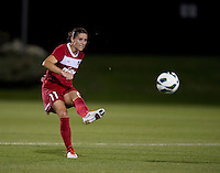 Ali Krieger (11) of the Washington Spirit passes the ball at the Maryland SoccerPlex in Boyds, MD. The Washington Spirit tied FC Kansas City, 1-1.