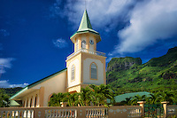 Faanui Protestant Church. Bora Bora. French Polynesia.