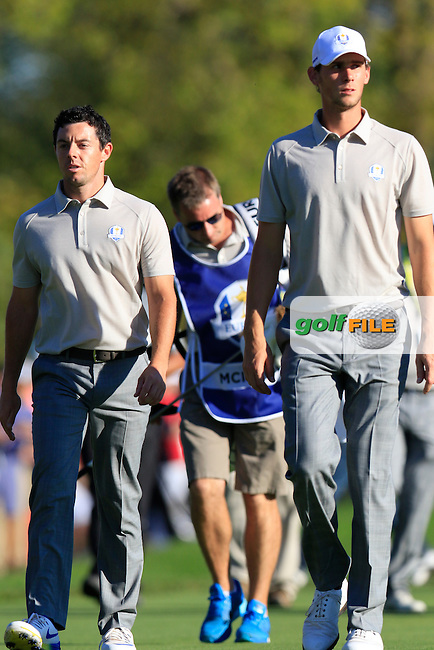 Rory McIlroy (NIR) and Thomas Pieters (BEL) Team Europe walk off the 16th tee during Saturday Afternoon Fourball Matches of the 41st Ryder Cup, held at Hazeltine National Golf Club, Chaska, Minnesota, USA. 1st October 2016.<br /> Picture: Eoin Clarke | Golffile<br /> <br /> <br /> All photos usage must carry mandatory copyright credit (&copy; Golffile | Eoin Clarke)