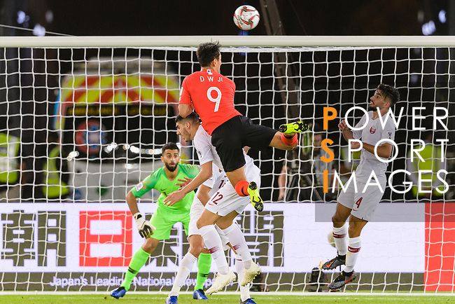 Ji Dongwon of South Korea (C, top) attempts a header for a goal during the AFC Asian Cup UAE 2019 Quarter Finals match between Qatar (QAT) and South Korea (KOR) at Zayed Sports City Stadium  on 25 January 2019 in Abu Dhabi, United Arab Emirates. Photo by Marcio Rodrigo Machado / Power Sport Images