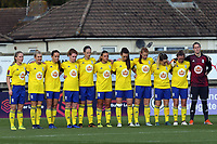 Birmingham City Lades observe a minutes silence before  Arsenal Women vs Birmingham City Ladies, FA Women's Super League Football at Meadow Park on 4th November 2018