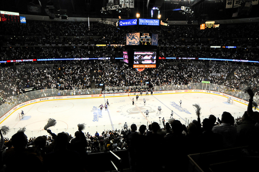 20 April 2010: Fans cheer  in an overhead general view image after a Paul Stastny score during a quarterfinal Stanley Cup Playoff game between the Colorado Avalanche and the San Jose Sharks at the Pepsi Center in Denver, Colorado. The Sharks defeated the Avalanche 2-1 in overtime.  *****For Editorial Use Only*****