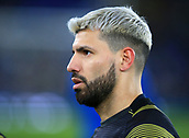 6th February 2019, Goodison Park, Liverpool, England; EPL Premier League Football, Everton versus Manchester City; Sergio Aguero of Manchester City warms up before the match