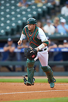 Miami Hurricanes catcher Joe Gomez (40) chases a ball against the Georgia Tech Yellow Jackets during game one of the 2017 ACC Baseball Championship at Louisville Slugger Field on May 23, 2017 in Louisville, Kentucky. The Hurricanes walked-off the Yellow Jackets 6-5 in 13 innings. (Brian Westerholt/Four Seam Images)