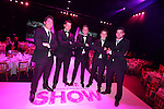 Breast Cancer Care Charity Fashion Show.<br /> Wales Millennium Centre.<br /> Wales rugby stars James hook, Dan Lydiate, Rhys Priestland, Jonathan Davies and Mike Phillips on the catwalk.<br /> 05.03.14<br /> <br /> &copy;Steve Pope-FOTOWALES