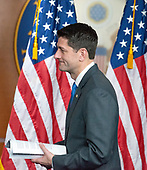 Speaker of the United States House of Representatives Paul Ryan (Republican of Wisconsin) arrives at a Capitol Hill press conference in Washington, DC on Wednesday, April 11, 2018 to announce he will not seek re-election to his seat and that he will be leaving Congress in January 2019.  Ryan said he was proud of the accomplishments of the GOP majority under his leadership.<br />