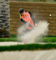 Pernilla Lindberg, of Sweden, plays a shot from a bunker on the 15th hole during the third round of the ANA Inspiration at the Mission Hills Country Club in Palm Desert, California, USA. 3/31/18.<br /> <br /> Picture: Golffile | Bruce Sherwood<br /> <br /> <br /> All photo usage must carry mandatory copyright credit (&copy; Golffile | Bruce Sherwood)during the second round of the ANA Inspiration at the Mission Hills Country Club in Palm Desert, California, USA. 3/31/18.<br /> <br /> Picture: Golffile | Bruce Sherwood<br /> <br /> <br /> All photo usage must carry mandatory copyright credit (&copy; Golffile | Bruce Sherwood)