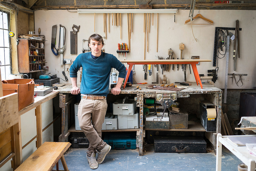 Ted Jefferis in his studio with His Tiptoe Bench.