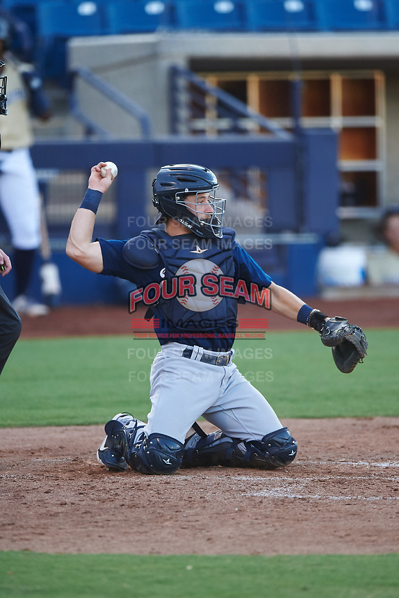 AZL Brewers Blue catcher Alex Hall (33) during an Arizona League game against the AZL Brewers Gold on July 13, 2019 at American Family Fields of Phoenix in Phoenix, Arizona. The AZL Brewers Blue defeated the AZL Brewers Gold 6-0. (Zachary Lucy/Four Seam Images)