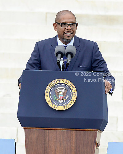 Forest Whitaker makes remarks at the Let Freedom Ring ceremony on the steps of the Lincoln Memorial to commemorate the 50th Anniversary of the March on Washington for Jobs and Freedom<br /> Credit: Ron Sachs / CNP