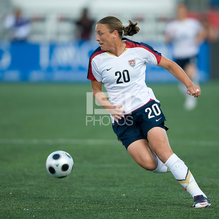 Abby Wambach. The US Women's National Team defeated the Canadian Women's National Team, 4-0, at BMO Field in Toronto during an international friendly soccer match on May 25, 2009.