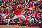 28 September 2014: Washington Nationals starting pitcher Jordan Zimmermann hurls his last pitch of the game against the Miami Marlins at Nationals Park in Washington, DC. Zimmermann thus recorded his first career no-hitter as the Nats defeated the Marlins 1-0 caping the season with the first Nationals no-hitter in modern times. The win also resulted with a 96 win season for the Nats: the best record in the National League. Mandatory Credit: Ed Wolfstein Photo *** RAW (NEF) Image File Available ***