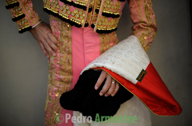 Spanish Matador Fernando Robleno looks on before taking part in a bullfight of the San Fermin festival at Pamplona's bullring on July 8, 2012, in Pamplona, northern Spain. The festival is a symbol of Spanish culture that attracts thousands of tourists to watch the bull runs despite heavy condemnation from animal rights groups . (c) Pedro ARMESTRE