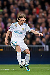 Luka Modric of Real Madrid in action during the UEFA Champions League Semi-final 2nd leg match between Real Madrid and Bayern Munich at the Estadio Santiago Bernabeu on May 01 2018 in Madrid, Spain. Photo by Diego Souto / Power Sport Images