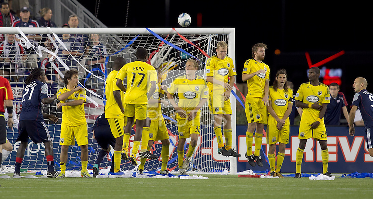 Columbus Crew wall reacts to direct kick. The New England Revolution tied Columbus Crew, 2-2, at Gillette Stadium on September 25, 2010.