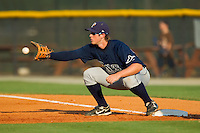 First baseman Jeff Malm #23 of the Princeton Rays stretches for a throw during an Appalachian League game against the Burlington Royals at Burlington Athletic Stadium July 11, 2010, in Burlington, North Carolina.  Photo by Brian Westerholt / Four Seam Images