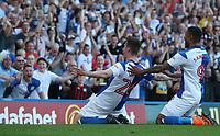 Blackburn Rovers' Darragh Lenihan celebrates scoring his side's first goal  <br /> <br /> Photographer Rachel Holborn/CameraSport<br /> <br /> The EFL Sky Bet League One - Blackburn Rovers v Oxford United - Saturday 5th May 2018 - Ewood Park - Blackburn<br /> <br /> World Copyright &copy; 2018 CameraSport. All rights reserved. 43 Linden Ave. Countesthorpe. Leicester. England. LE8 5PG - Tel: +44 (0) 116 277 4147 - admin@camerasport.com - www.camerasport.com