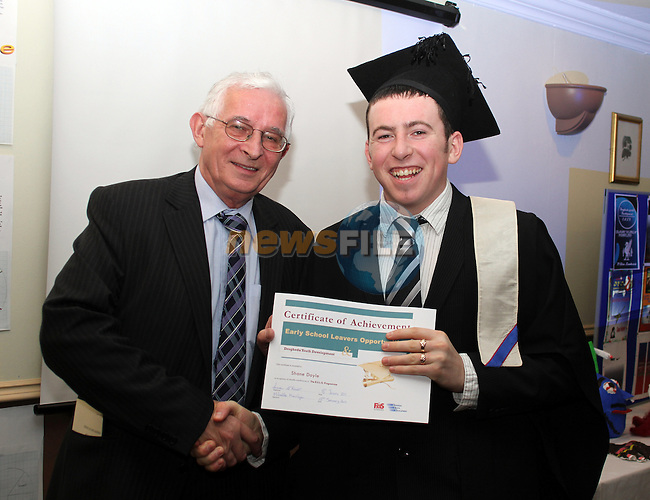Sean Roche of FAS presents an award to Shane Doyle at the graduation of ESLO Students in the Westcourt Hotel...(Photo credit should read Jenny Matthews/www.newsfile.ie)....This Picture has been sent you under the conditions enclosed by:.Newsfile Ltd..The Studio,.Millmount Abbey,.Drogheda,.Co Meath..Ireland..Tel: +353(0)41-9871240.Fax: +353(0)41-9871260.GSM: +353(0)86-2500958.email: pictures@newsfile.ie.www.newsfile.ie.