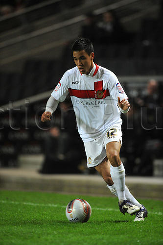 20.03.2012 Milton Keynes, England. Milton Keynes Dons v Leyton Orient.  Adam Chicksen (MK Dons) Defender in action during the NPower League 1 game played at Stadium MK.