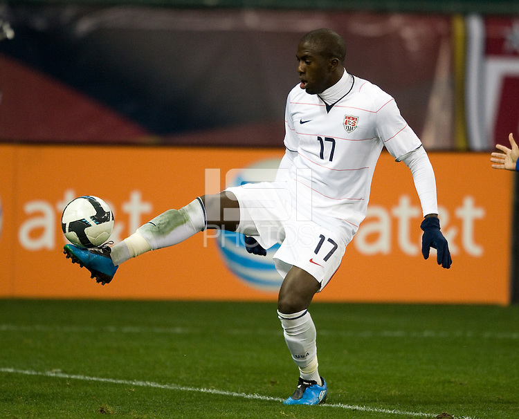 Jozy Altidore controls the ball during a 2-2 tie with Costa Rica to put the USA in first place of CONCACAF 2010 World Cup qualifying, at RFK Stadium, in Washington DC, Wednesday, October 14, 2009.