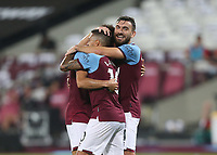 West Ham United's Felipe Anderson celebrates scoring his side's third goal with Manuel Lanzini and Robert Snodgrass<br /> <br /> Photographer Rob Newell/CameraSport<br /> <br /> Carabao Cup Second Round Northern Section - West Ham United v Charlton Athletic - Tuesday 15th September 2020 - London Stadium - London <br />  <br /> World Copyright © 2020 CameraSport. All rights reserved. 43 Linden Ave. Countesthorpe. Leicester. England. LE8 5PG - Tel: +44 (0) 116 277 4147 - admin@camerasport.com - www.camerasport.com