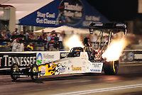 Jun. 17, 2011; Bristol, TN, USA: NHRA top fuel driver Chris Karamesines during qualifying for the Thunder Valley Nationals at Bristol Dragway. Mandatory Credit: Mark J. Rebilas-