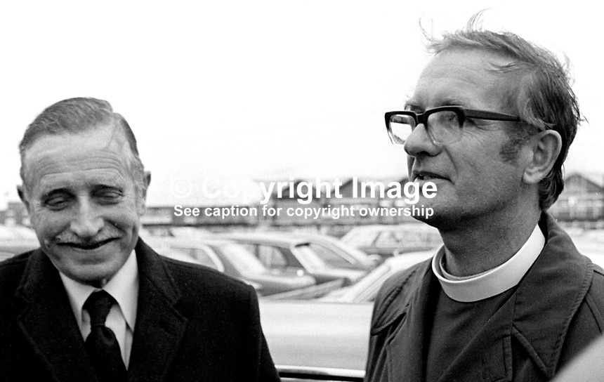 Anglican Bishop of Uganda, Brian Herd, is welcomed back to N Ireland by his father following his expulsion from Uganda by President Idi Amin. Amin  alleged passport irregularities.  197703080141c..Copyright Image from Victor Patterson, 54 Dorchester Park, Belfast, United Kingdom, UK...For my Terms and Conditions of Use go to http://www.victorpatterson.com/Victor_Patterson/Terms_%26_Conditions.html