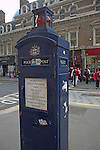 Old fashioned police post telephone box, London - outside Liverpool Street station,