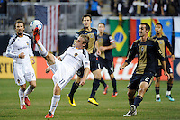 Chris Birchall (11) of the Los Angeles Galaxy plays the ball. The Los Angeles Galaxy defeated the Philadelphia Union  1-0 during a Major League Soccer (MLS) match at PPL Park in Chester, PA, on October 07, 2010.