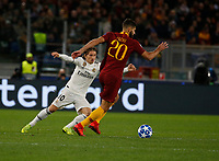 Luka Modric of Real Madrid and Federico Fazio of AS Roma  during the Champions League Group  soccer match between AS Roma - Real Madrid  at the Stadio Olimpico in Rome Italy 27 November 2018