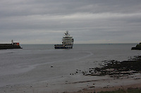 Oil Supply ship Troms Capellla leaving Aberdeen harbour.