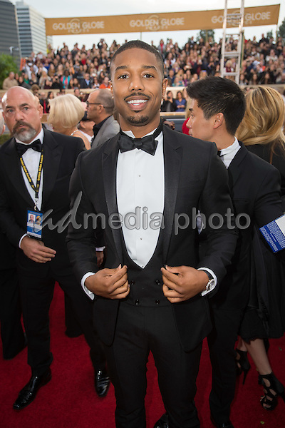 Michael B. Jordan arrives at the 73rd Annual Golden Globe Awards at the Beverly Hilton in Beverly Hills, CA on Sunday, January 10, 2016. Photo Credit: HFPA/AdMedia