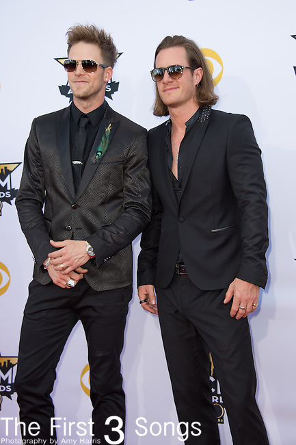 Brian Kelley and Tyler Hubbard of Florida Georgia Line attend the 50th Academy Of Country Music Awards at AT&T Stadium on April 19, 2015 in Arlington, Texas.