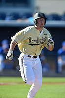 Vanderbilt Commodores outfielder Nolan Rogers (18) runs to first during a game against the Indiana State Sycamores on February 21, 2015 at Charlotte Sports Park in Port Charlotte, Florida.  Indiana State defeated Vanderbilt 8-1.  (Mike Janes/Four Seam Images)