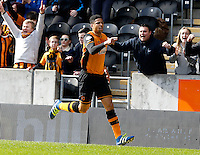 Hull City v Bristol City 2.4.16 .Sky Bet Championship ....... Hulls curtis davies celebrates after scoring opening goal