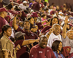 September 21, 2017. Durham, North Carolina.<br /> <br /> Reggie Belle, with the towel, celebrates the game winning touchdown for NCCU. <br /> <br /> The NCCU Eagles won a home game against the the South Carolina State Bulldogs 33-28 at O'Kelly–Riddick Stadium.